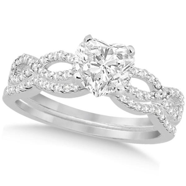 Twisted Infinity Heart Diamond Bridal Set 14k White Gold (0.88ct)