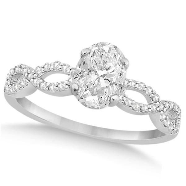 Twisted Infinity Oval Diamond Bridal Set 14k White Gold (0.88ct)
