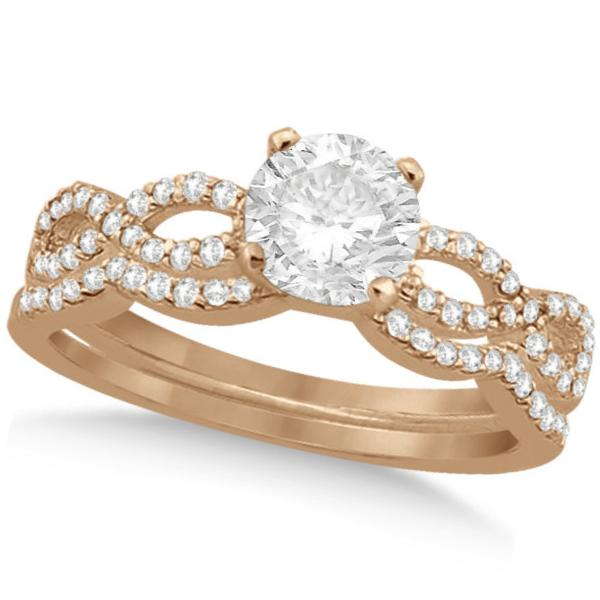 Twisted Infinity Round Diamond Bridal Ring Set 14k Rose Gold (1.63ct)