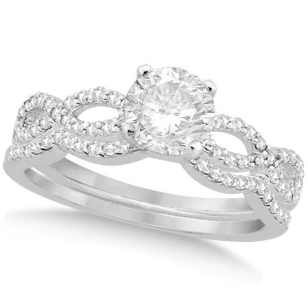 Twisted Infinity Round Diamond Bridal Ring Set 14k White Gold (1.63ct)