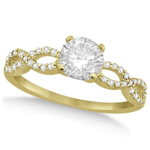 Twisted Infinity Round Diamond Bridal Ring Set 14k Yellow Gold (1.63ct)
