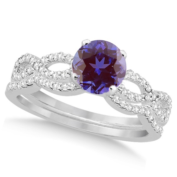 Infinity Style Alexandrite & Diamond Bridal Set 14k White Gold 1.29ct