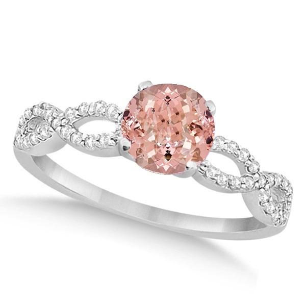 Infinity Style Morganite & Diamond Bridal Set 14k White Gold 1.29ct
