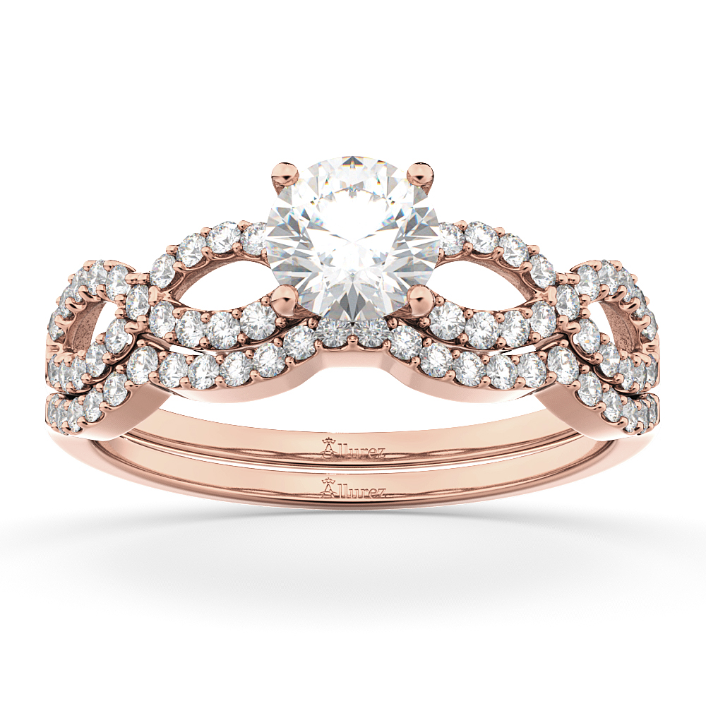 Infinity Twisted Diamond Matching Bridal Set in 18K Rose Gold (0.34ct)