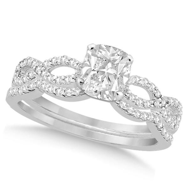 Infinity Cushion-Cut Diamond Bridal Ring Set 14k White Gold (0.63ct)
