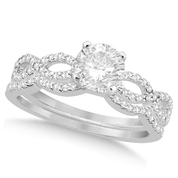 Twisted Infinity Round Diamond Bridal Ring Set 14k White Gold (0.63ct)