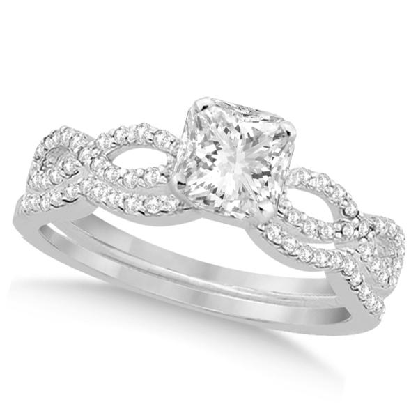 Infinity Princess Cut Diamond Bridal Ring Set 14k White Gold (0.88ct)