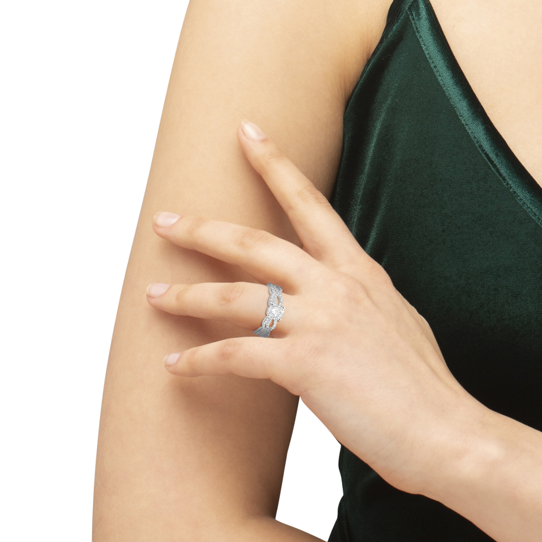 Twisted Infinity Round Diamond Bridal Ring Set 14k White Gold (0.88ct)
