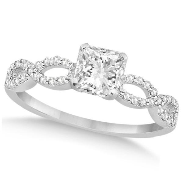 Infinity Princess Cut Diamond Bridal Ring Set 14k White Gold (1.13ct)