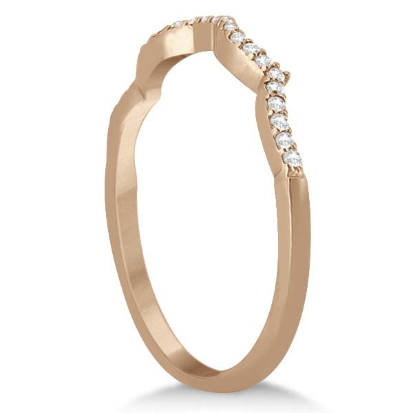 Infinity Round Diamond Blue Sapphire Bridal Set 14k Rose Gold (1.13ct)