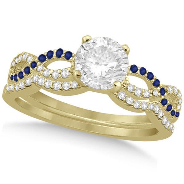 Infinity Round Diamond Blue Sapphire Bridal Set 14k Yellow Gold (1.13ct)
