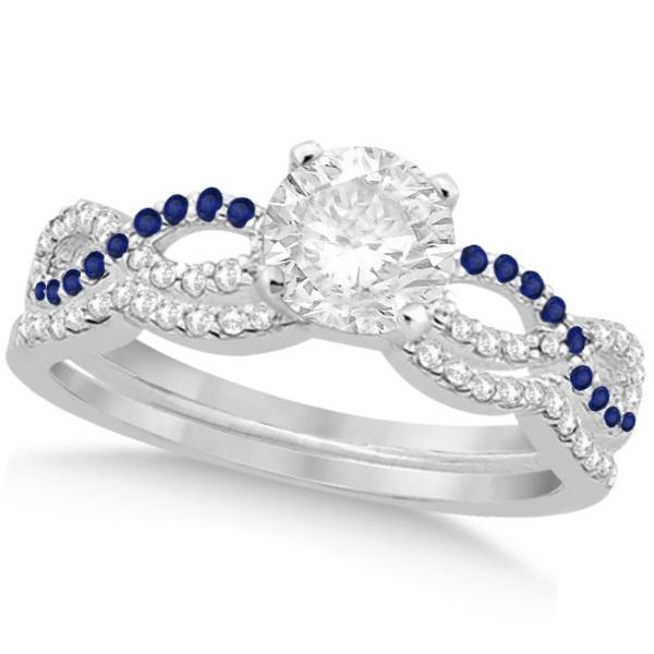 Infinity Round Diamond Blue Sapphire Bridal Set 14k White Gold (2.13ct)