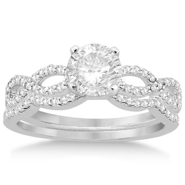 Infinity Twisted Lab Grown Diamond Ring Matching Bridal Set in Palladium (0.34ct)