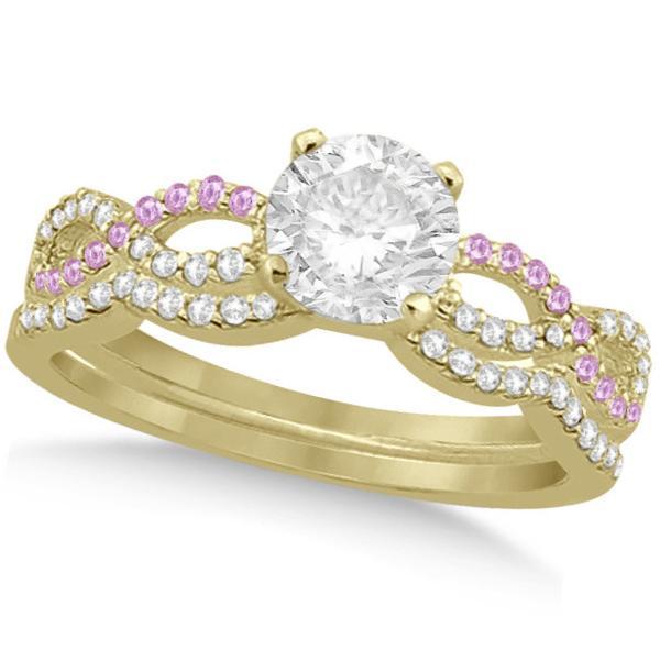 Infinity Round Diamond Pink Sapphire Bridal Set 14k Yellow Gold (1.13ct)
