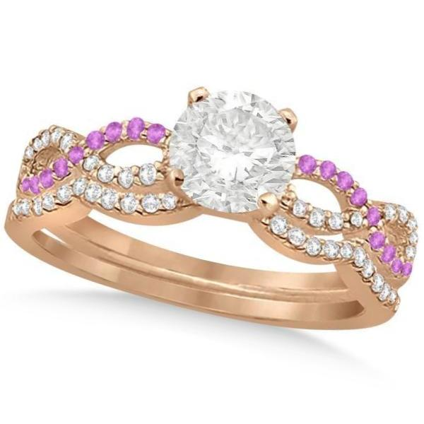 Infinity Round Diamond Pink Sapphire Bridal Set 14k Rose Gold (1.63ct)