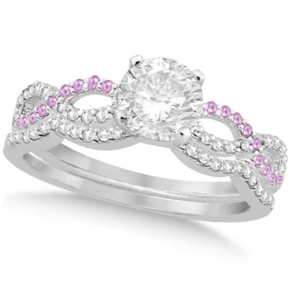 Infinity Round Diamond Pink Sapphire Bridal Set 14k White Gold (1.63ct)