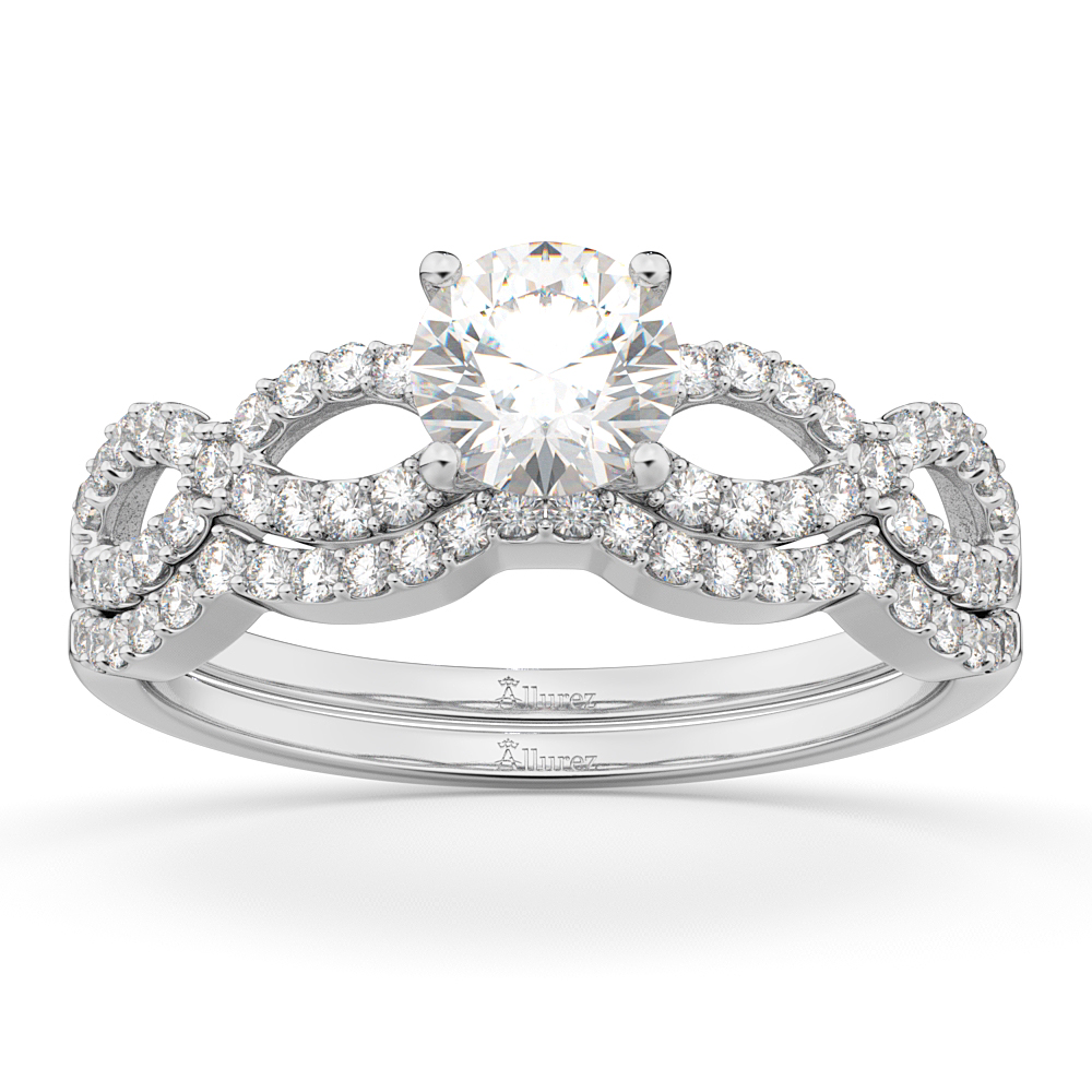 Infinity Twisted Diamond Ring Matching Bridal Set in platinum (0.34ct)