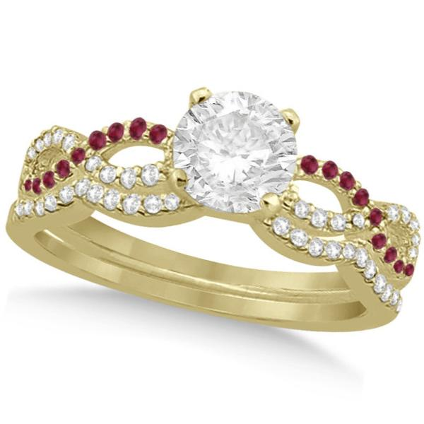 Infinity Twisted Round Diamond Ruby Bridal Set 14k Yellow Gold (0.63ct)