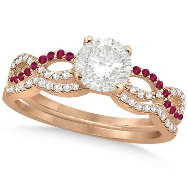 Infinity Twisted Round Diamond Ruby Bridal Set 14k Rose Gold (0.88ct)