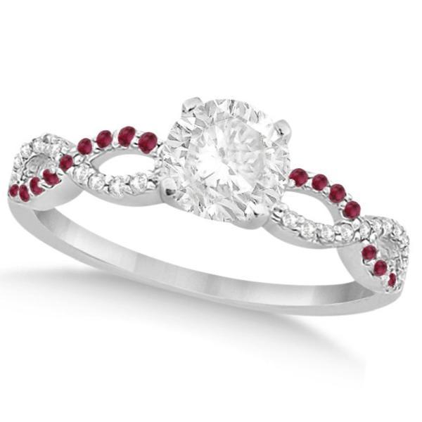 Infinity Twisted Round Diamond Ruby Bridal Set 14k White Gold (1.13ct)