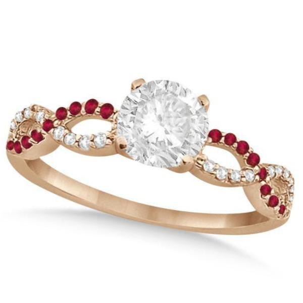 Infinity Twisted Round Diamond Ruby Bridal Set 14k Rose Gold (2.13ct)