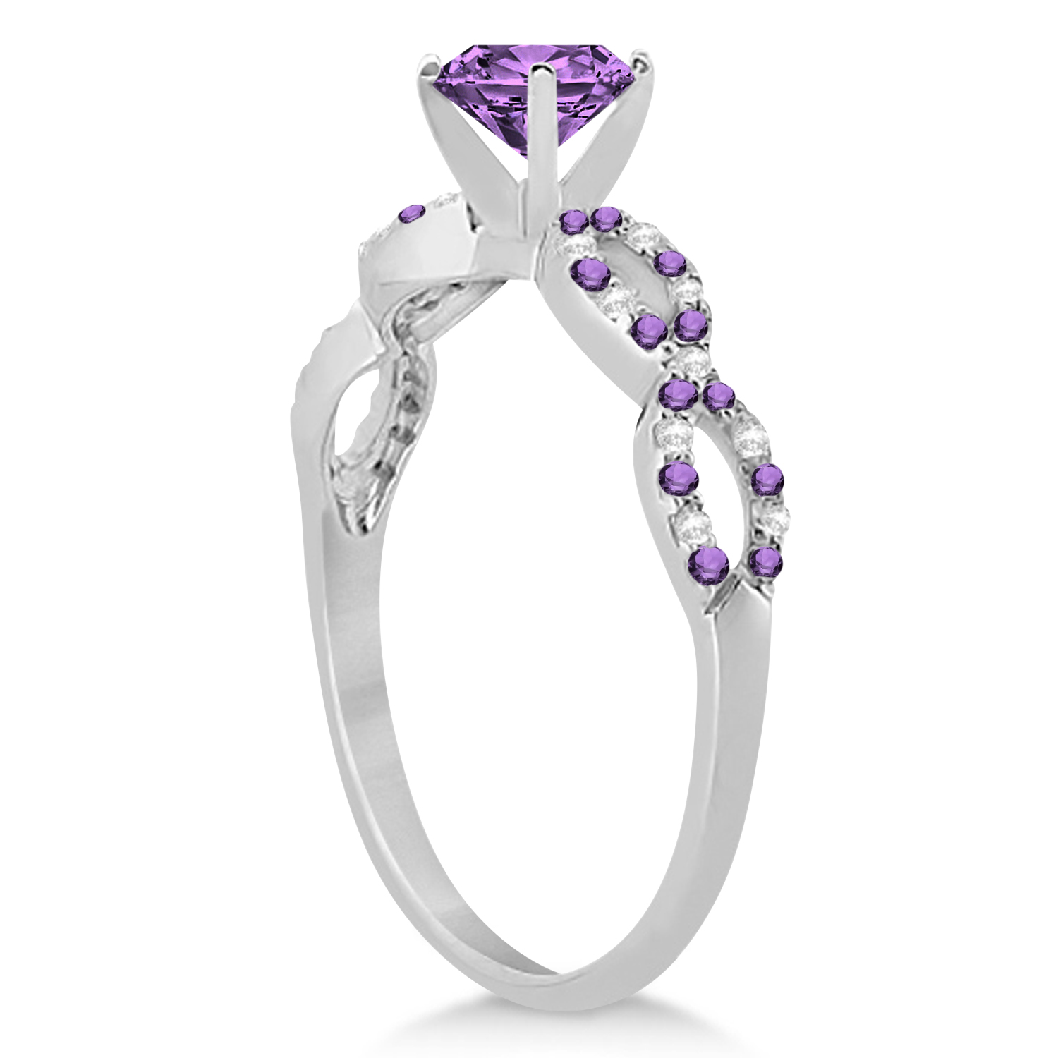 Infinity Diamond & Amethyst Engagement Ring 14K White Gold 1.05ct
