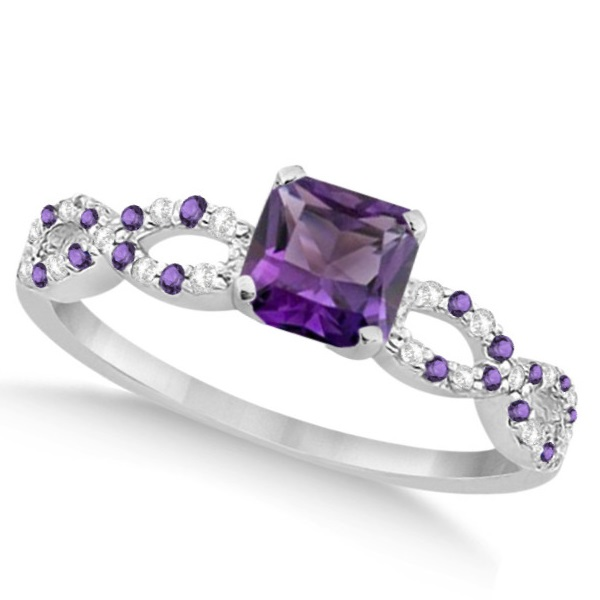 Diamond & Amethyst Princess Infinity Engagement 14k W. Gold 1.50ct