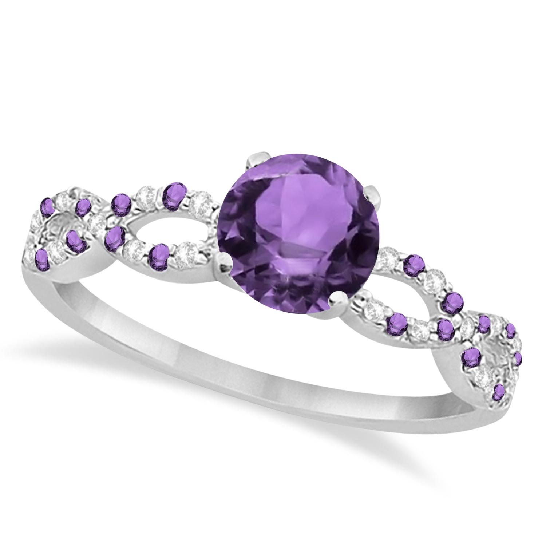 Infinity Style Amethyst & Diamond Bridal Set 14k White Gold 1.29ct