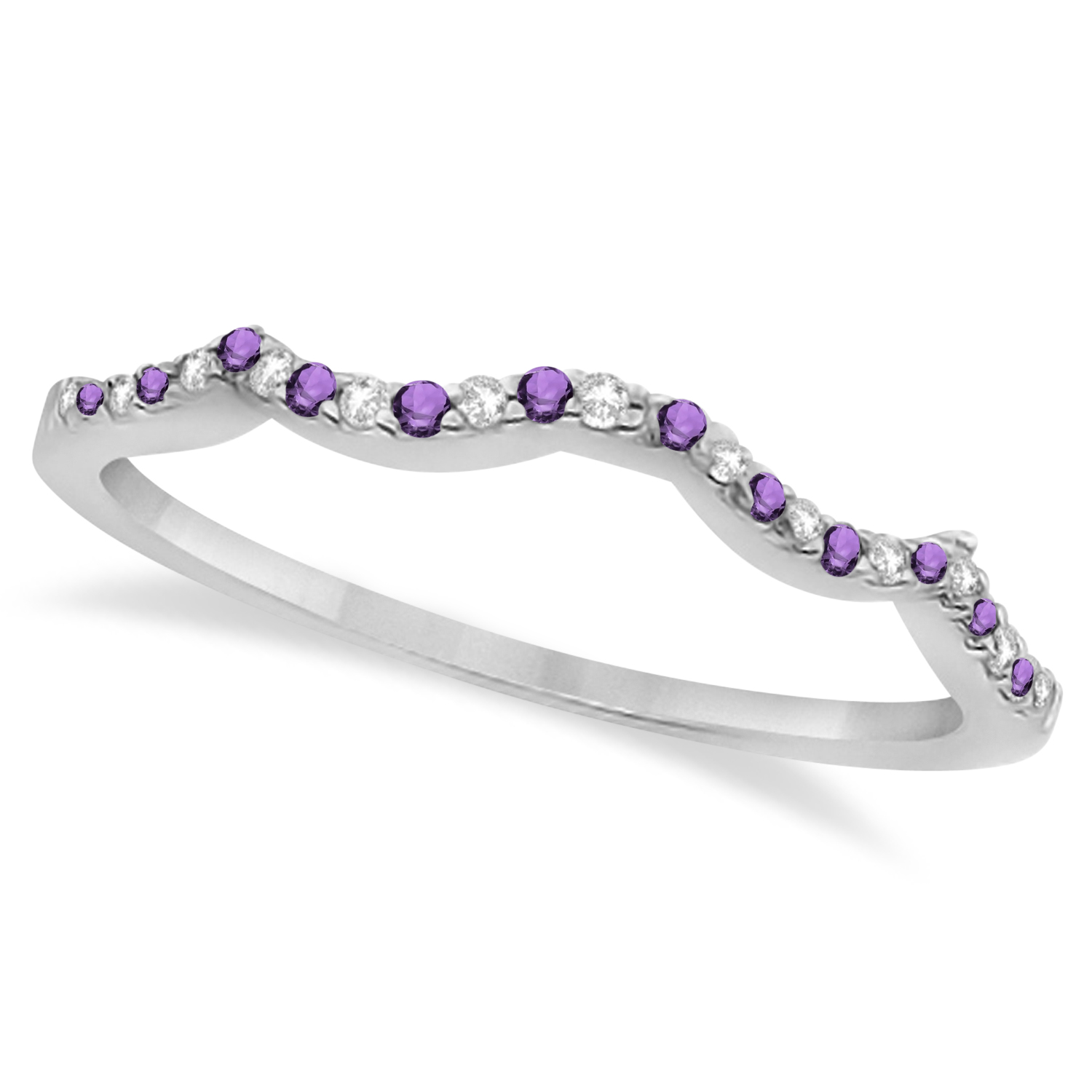 Amethyst & Diamond Infinity Style Bridal Set 14k White Gold 1.69ct