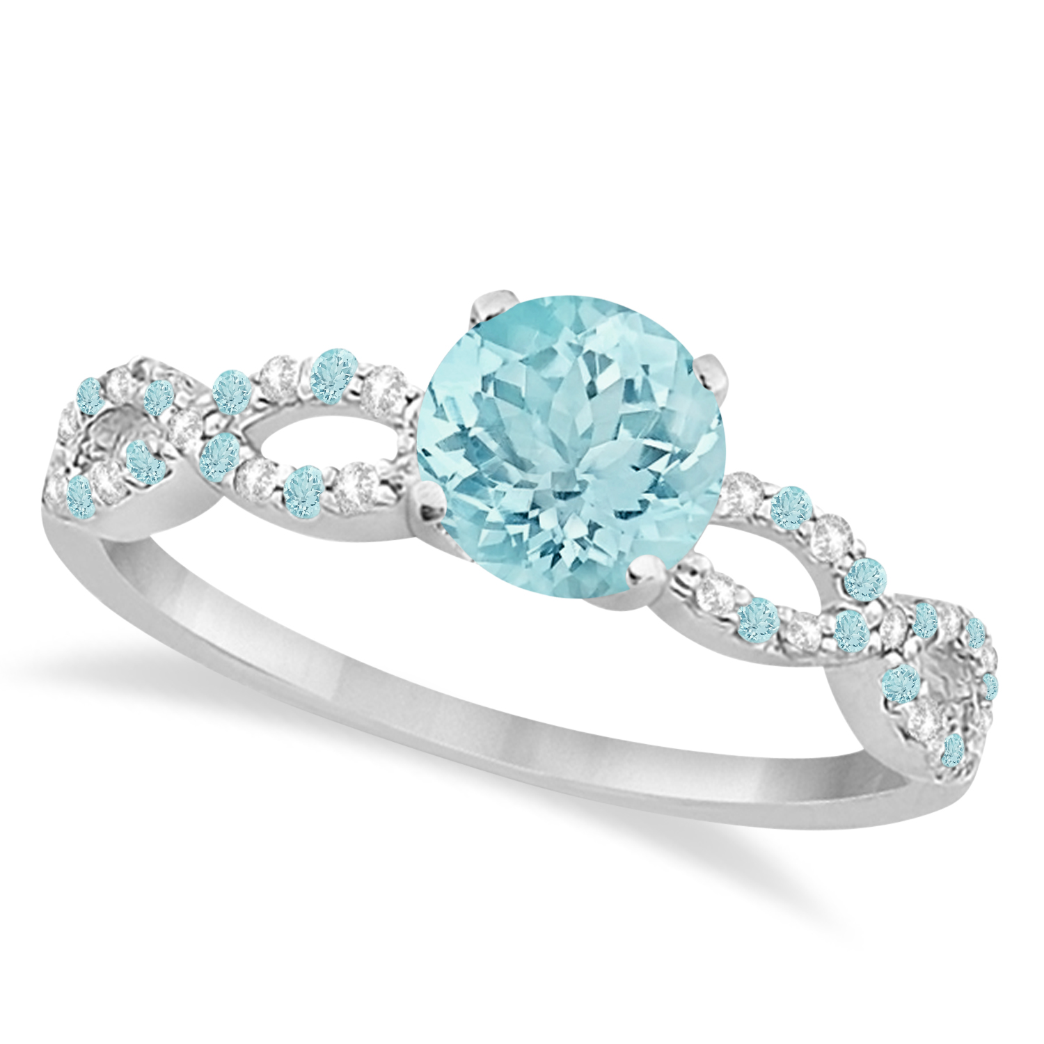 Infinity diamond aquamarine engagement ring 14k white for Wedding rings aquamarine