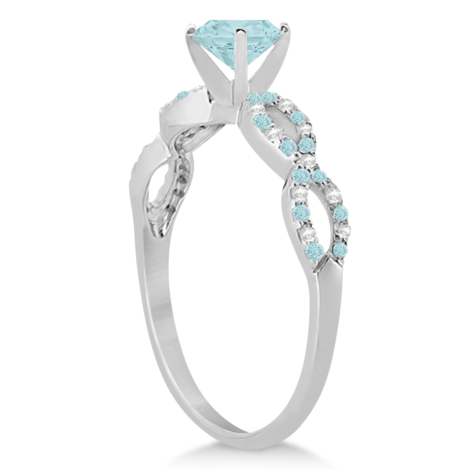 Infinity Diamond & Aquamarine Engagement Ring 14K White Gold 0.90ct