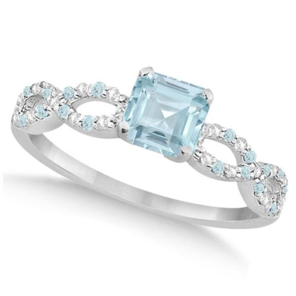 Diamond & Aquamarine Princess Infinity Engagement 14k W Gold 1.50ct