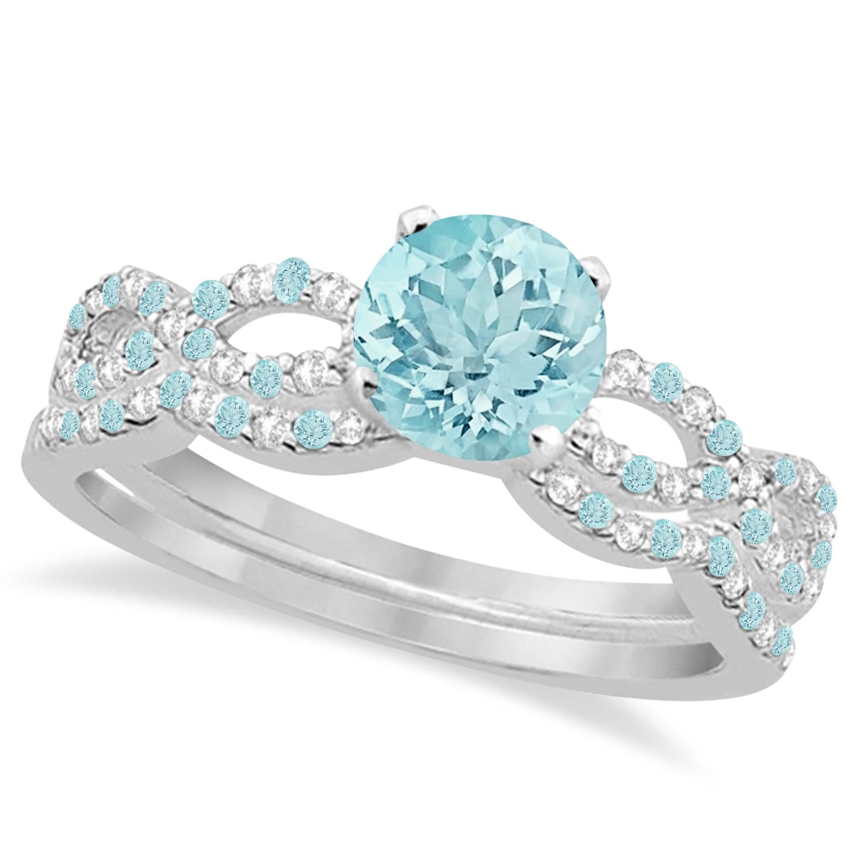 Infinity Style Aquamarine & Diamond Bridal Set 14k White Gold 1.14ct