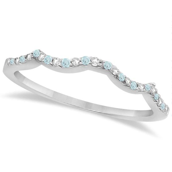 Aquamarine & Diamond Heart Infinity Style Set 14k White Gold 1.74ct