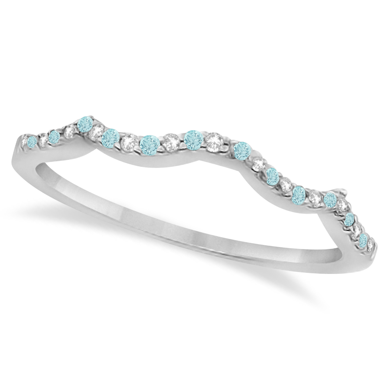 Diamond & Aquamarine Contour Wedding Band 14K White Gold 0.24ct