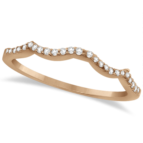 Contour Lab Grown Diamond Accented Wedding Band 14K Rose Gold (0.13ct)