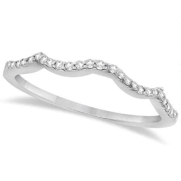 Contour Lab Grown Diamond Accented Wedding Band 18K White Gold (0.13ct)
