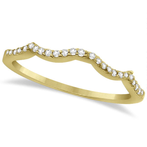 Contour Lab Grown Diamond Accented Wedding Band 18K Yellow Gold (0.13ct)