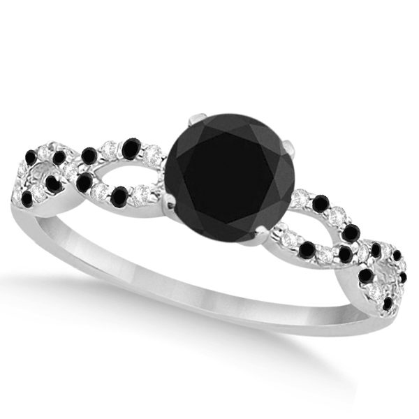 White & Black Diamond Infinity Engagement Ring 14k White Gold 1.65ct