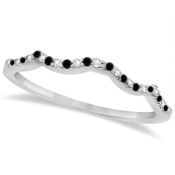 Infinity Style Black Diamond & Diamond Bridal Set 14k White Gold 0.85ct