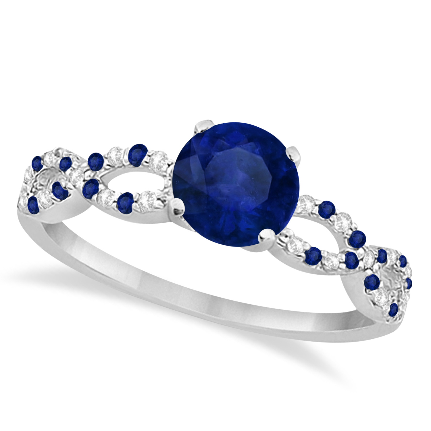 Infinity Style Blue Sapphire & Diamond Bridal Set 14k W. Gold 1.29ct