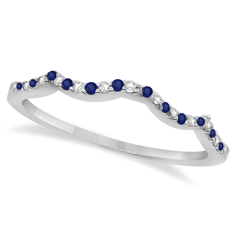 Diamond & Blue Sapphire Contour Wedding Band 14K White Gold 0.24ct