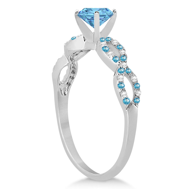 Infinity Diamond & Blue Topaz Engagement Ring 14K White Gold 1.05ct
