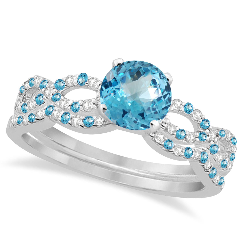 Infinity Style Blue Topaz & Diamond Bridal Set 14k White Gold 1.29ct