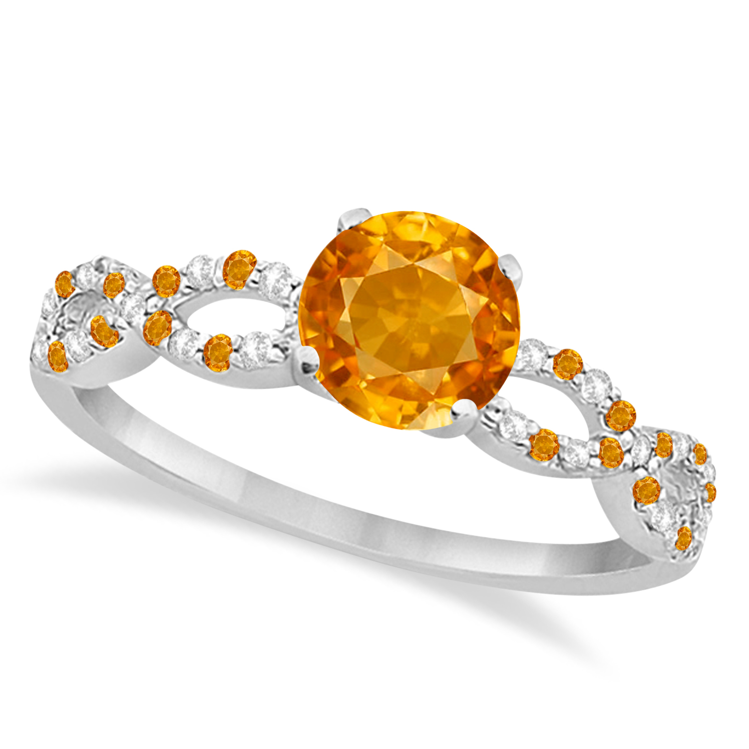 Infinity Style Citrine & Diamond Bridal Set 14k White Gold 1.29ct
