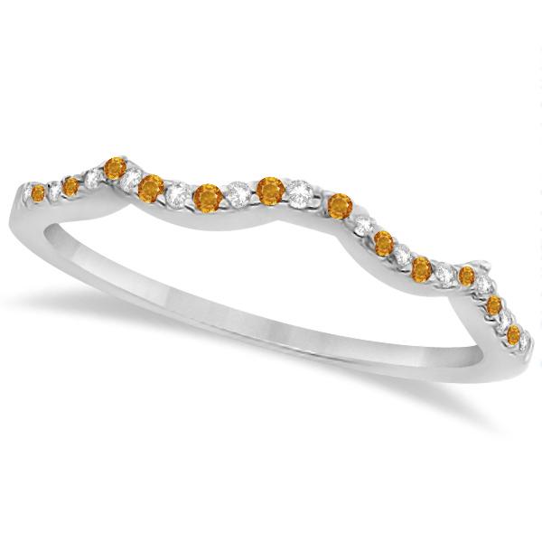 Citrine & Diamond Heart Infinity Style Bridal Set 14k W Gold 1.74ct