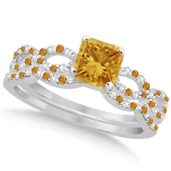 Citrine & Diamond Princess Infinity Bridal Set 14k White Gold 1.74ct