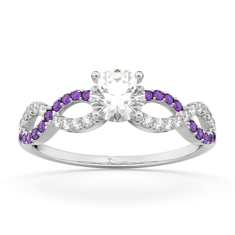 Infinity Diamond & Amethyst Engagement Ring in 18k White Gold (0.21ct)