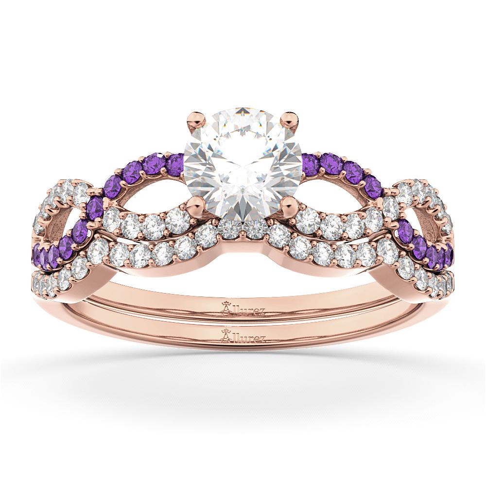 Infinity Diamond & Amethyst Engagement Ring Set 14k Rose Gold 0.34ct