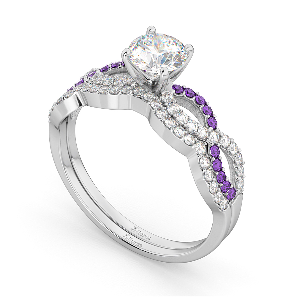 Infinity Diamond & Amethyst Engagement Bridal Set in Platinum (0.34ct)